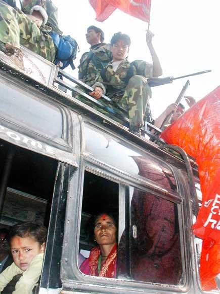 Maoist guerilla over a civilian passenger bus
