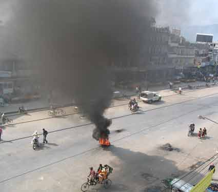 Students protest Dang Killing in Narayanghat Bazaar.