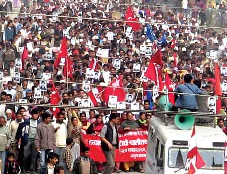 Students and general public organized protest rallies condemning the killing of a pro-democracy CPN UML cadre Umesh Thapa on the day of Municipal Elections in Nepal.