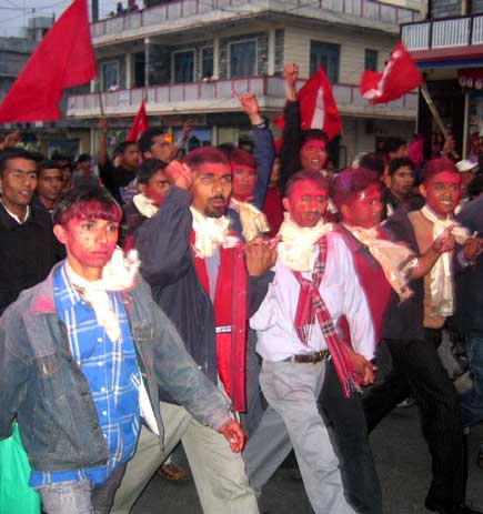 Students in Pokhara take out a victory rally Sunday in the city after local authority released all 35 students in the auspices of the District Court, Kaski.