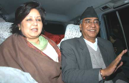 Mr. and Mrs. Deuba after former Prime Minister was released on Monday