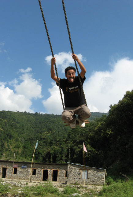 playing ping while doing helambu trek
