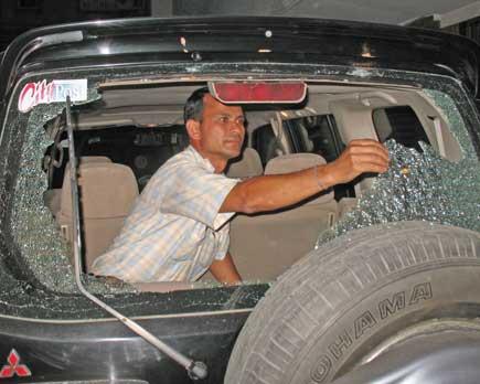 kantipur vehicle vandalized