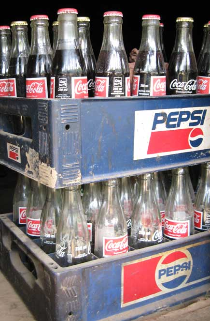 Coke in the Pepsi crate at a shop in Mulkharka