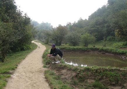 Wagle near a pond in Shivapuri