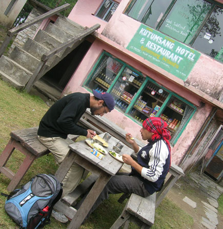 Eating Dal Bhat in Kutumsang