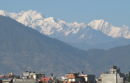View of Himalayas from Kathmandu Valley