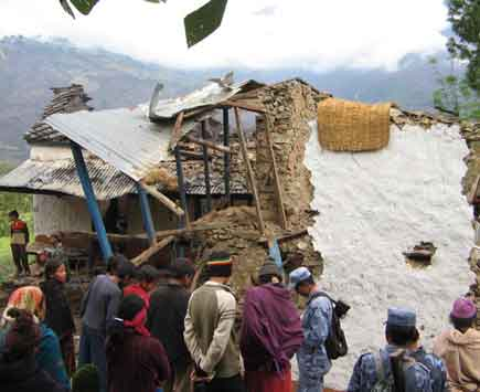 Maoists exploded a bomb Tuesday in this house of Bakhat Bahadur Thapa who was elected the Chairman of Ward No. 2 of Narayan Nagar Municipality (Jajarkot District) in Feb 8