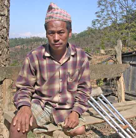 Chitta Bahadur Thapa, 42, of Tanahun District's Ghashikuwa-9, Tamung lost his left leg when Maoists took physical action against him six years ago.