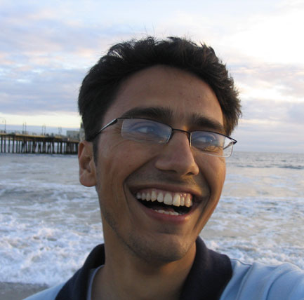 Dinesh Wagle smiles in Santa Monica Beach...a self portrait via camera