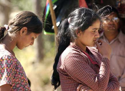 Terrified local girls of Kavre Bhanjyang were apparently unable to speak with eachother after some of them saw the battle live.