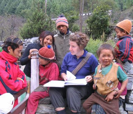 Jenny with kids in Koto