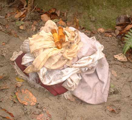 Belongings gathered from the meditation venue