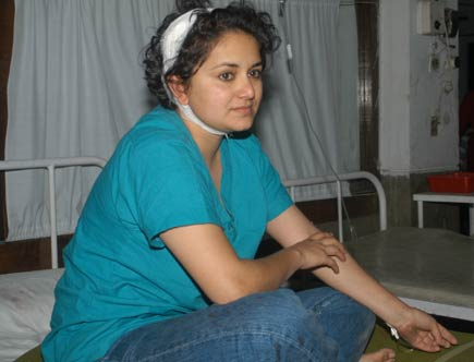 Manju Shree Thapa was injured in a anti-regression demonstration in Kathmandu