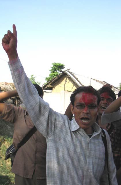 Maoists shouting slogans