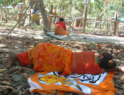 Ram Bahadur Bamjom's mother sleeps in front of the Peepal Tree under which her famous son used to meditate