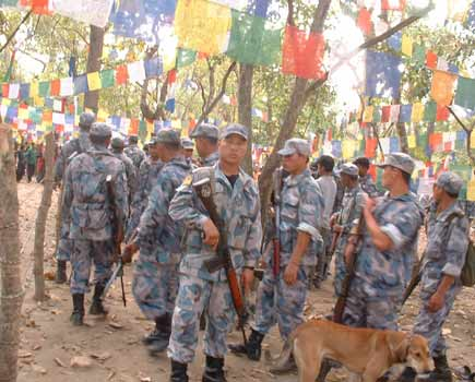 In search of the Buddha Boy..members of Armed Police Force