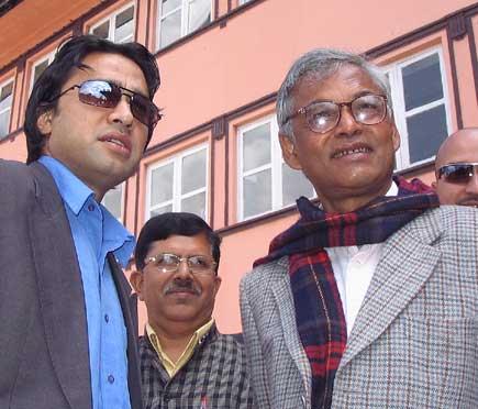 Pradeep Giri with his son