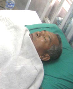 Ram Bahadur Rana undergoes treatment in Midwest Regional Hospital, Pokhara.