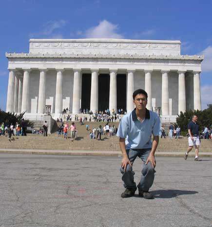 dinesh wagle in front of lincoln memorial