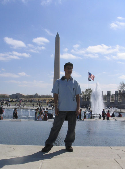 dinesh wagle with washington monument on background