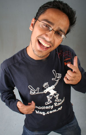 Dinesh Wagle with new UWB Tshirt Democracy Rocks!
