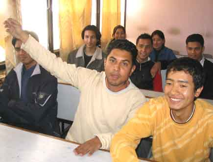don bosco agressive boys hands up to make his point