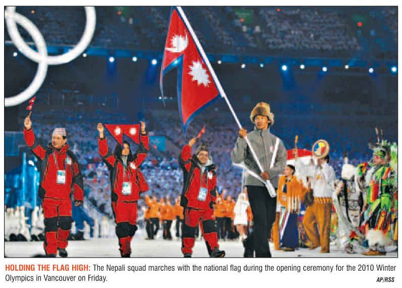 Nepali national team marches in Vancouver Winter Olympics 2010