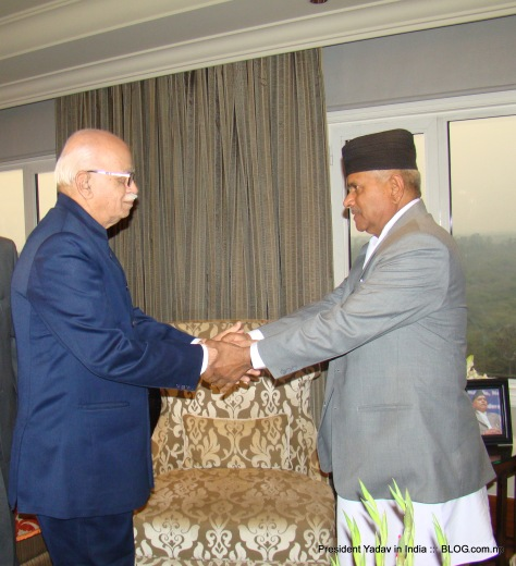 President Yadav with LK Advani