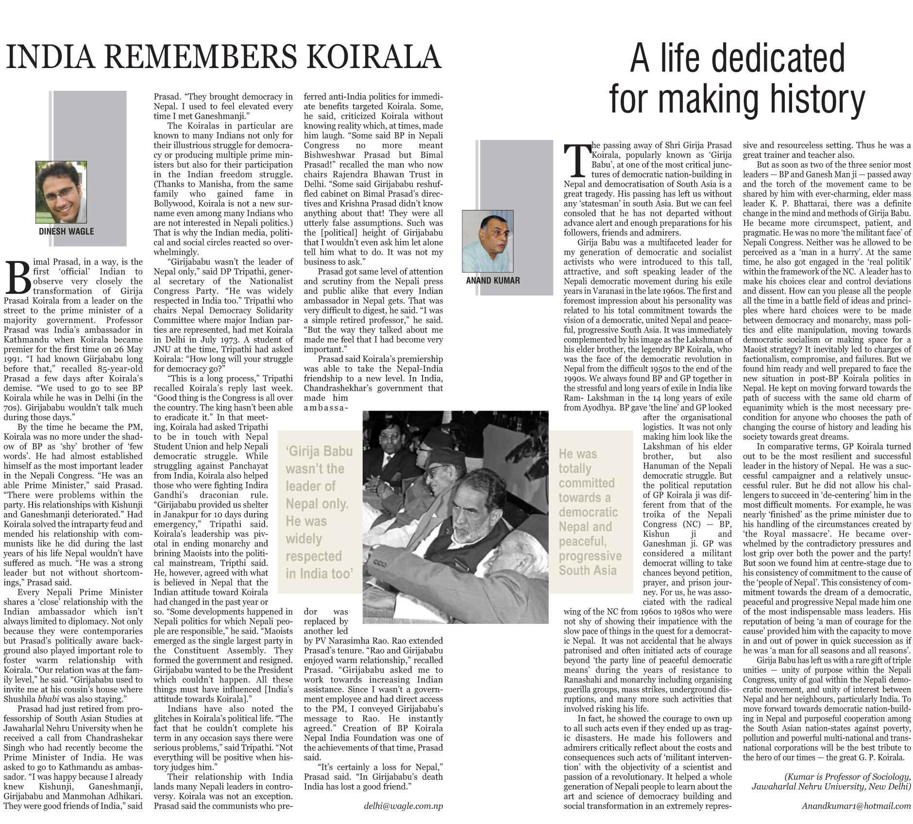 india remembers koirala kathmandu post special supplement