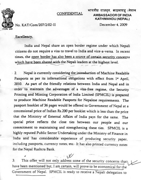 indian ambassador letter to nepali foreign minister 1