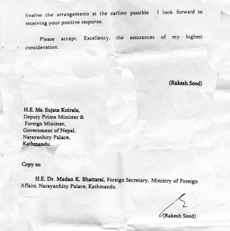 indian ambassador letter to nepali foreign minister 2