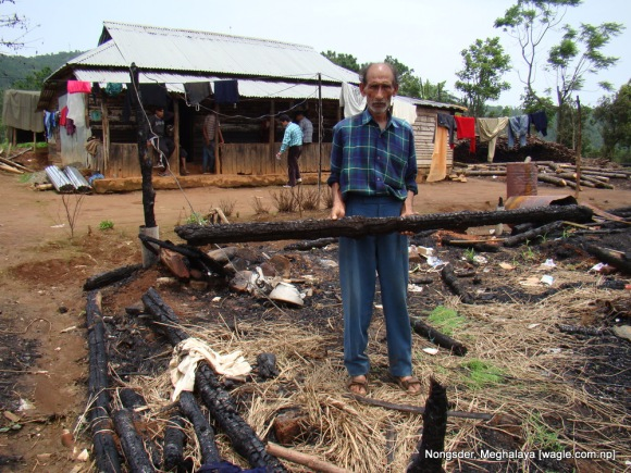 Chandra Prakash Dahal stands over the derbies.. Three cows and four goats were killed when his cowshed was gutted in fire by miscreant Khasis