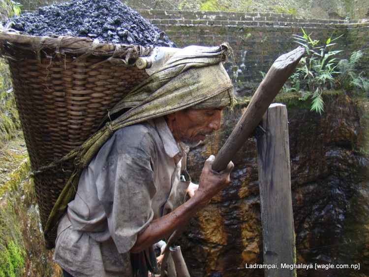 Ladrampai, Meghalaya mine labourer from nepal Shaym Prasad Pokharel emerges out of the pit
