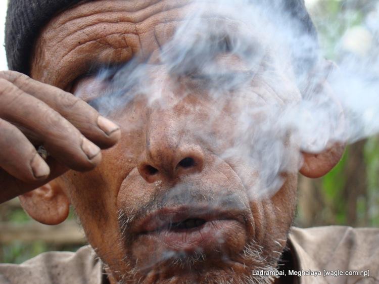Shyam Prasad Pokharel smokes