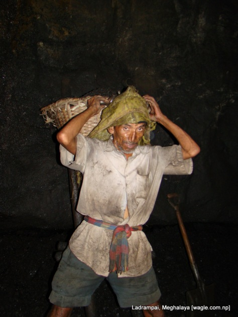 Ladrampai, Meghalaya coal mine labourers Shyam P Pokharel readies himself to climb a ladder