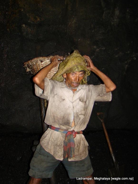 Ladrampai, Meghalaya coal mine labourers Shyam P Pokharel readies himself to climb a ladder