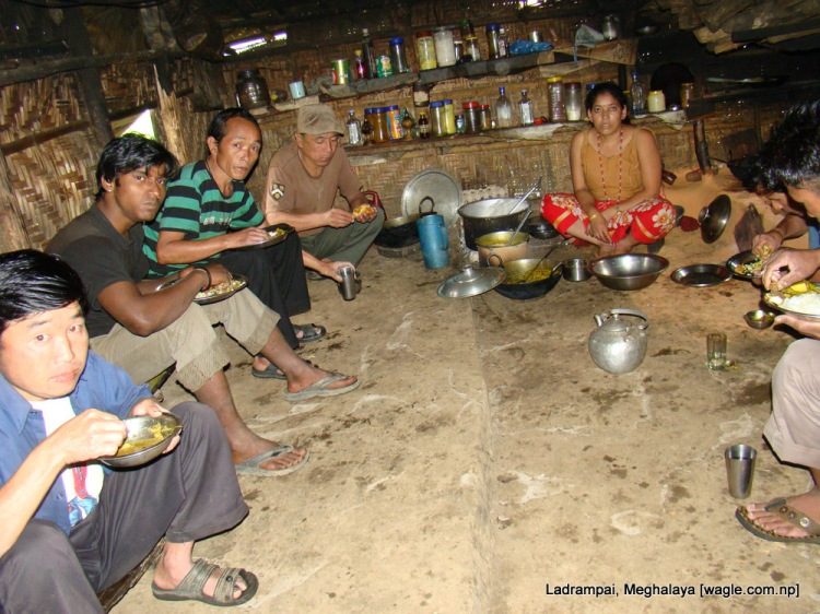 Ladrampai, Meghalaya coal mine labourers from Nepal having lunch in a mess near the pit where they work