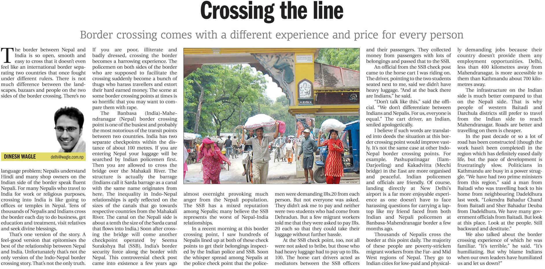 crossing the line kathmandu post p6.Oct26.2010
