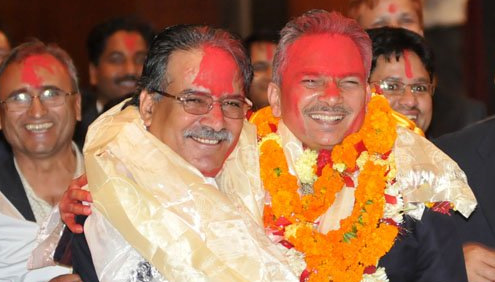 "Baburam Bhattarai and Pushpa Kamal Dahal ""Prachanda"""