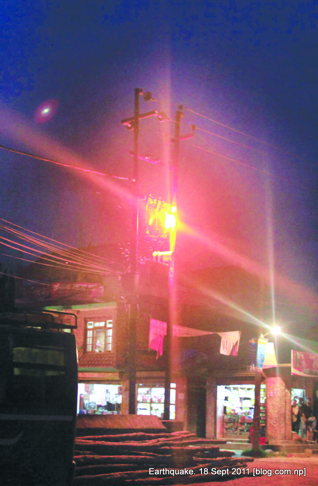 electricity line during earthquake in kathmandu