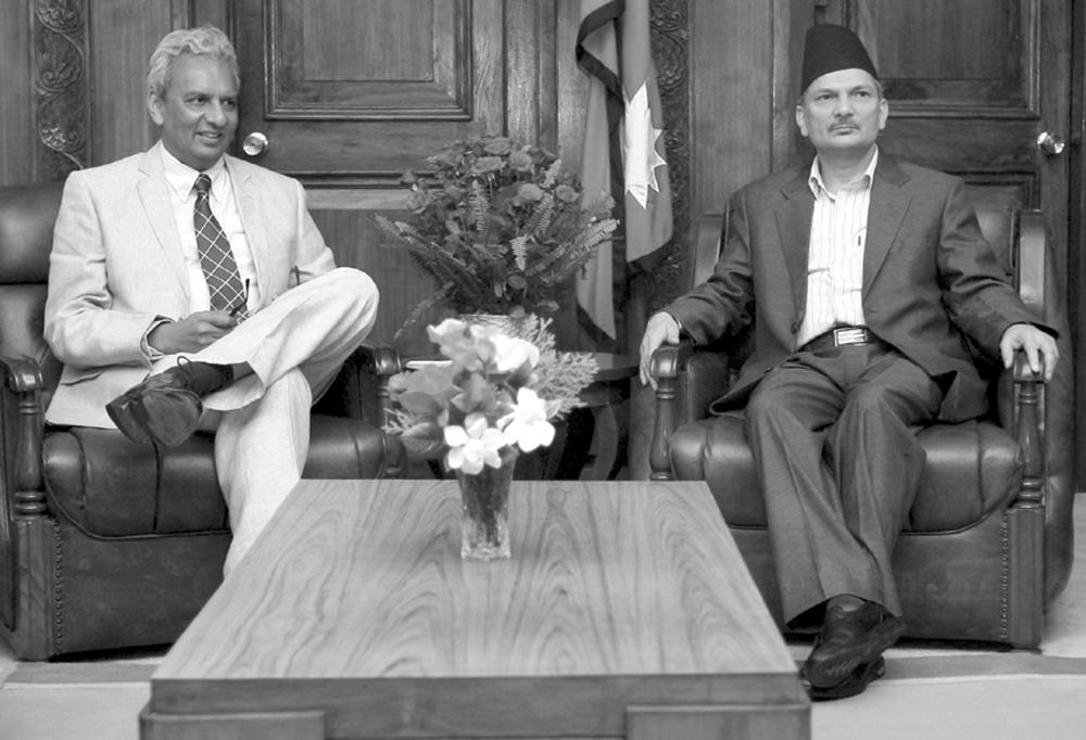 Indian Ambassador Jayant Prasad with Nepali Prime Minister Baburam Bhattarai