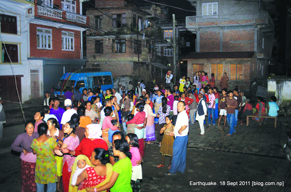locals gather outside after the earthquake in lalitpur