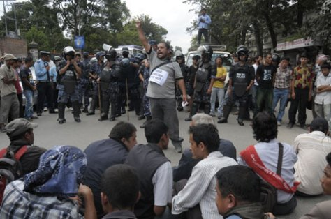 maoist baidya cadres protesting