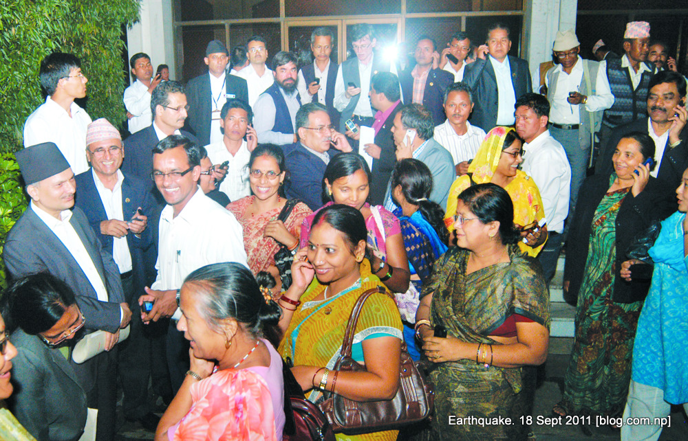 prime minister bhattarai and maoist leader prachanda with lawmakers in the constituent assembly complex after the earthquake