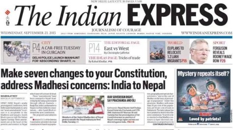 Indian Express headline before the blockade