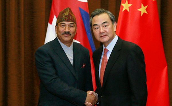 Nepal Foreign Minister Kamal Thapa and China Foreign Minister Wang Yin