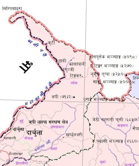 Map of Nepal showing Limpiyadhura as the source of River Kali