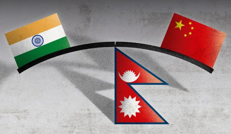 India Nepal China - flags and tri-junction