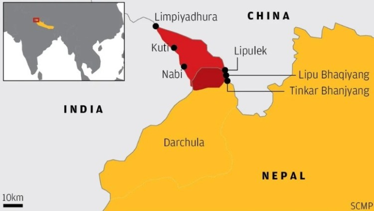 Nepal's new map shows Limpiyadhura, the source of Mahakali river that serves as border between Nepal and India, as tripoint between Nepal, India and China. Pic via SCMP.